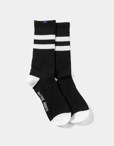 Native North Striped Socks Black White