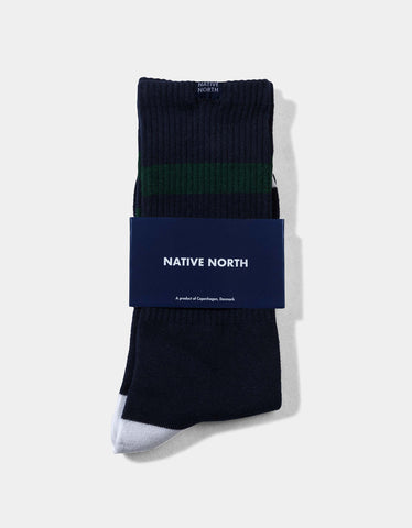 Native North Striped Socks Navy Green