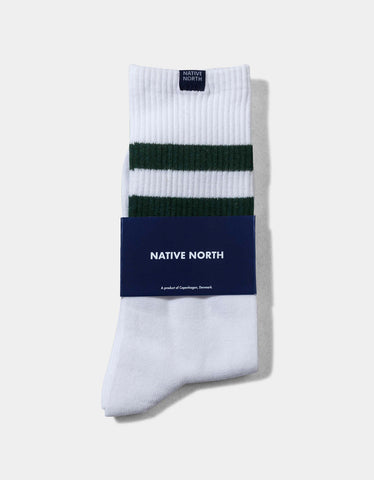 Native North Striped Socks White Green