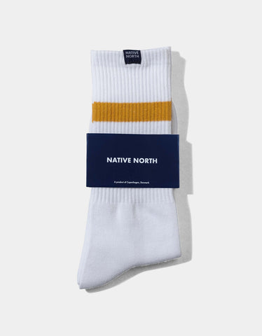 Native North Striped Socks White Orange