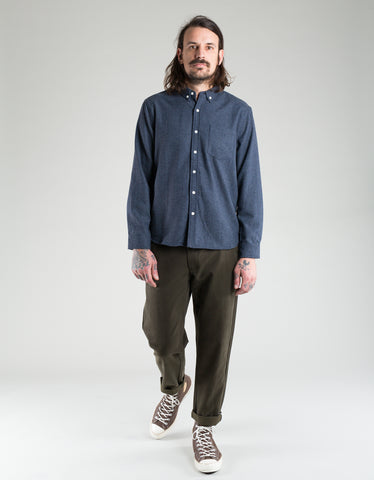 Native North Wool Herringbone Shirt Navy Melange