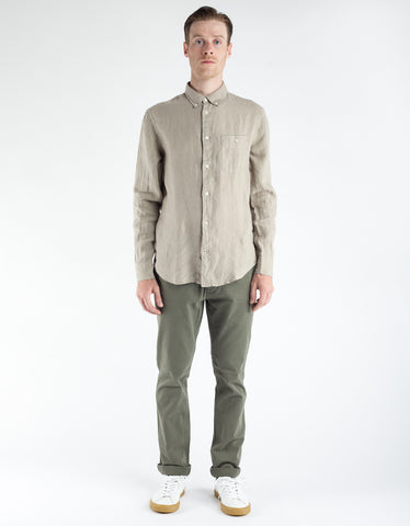 No Nationality New Derek Linen Shirt Khaki