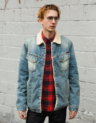 Nudie Lenny Denim Sherpa Jacket Favourite Shade