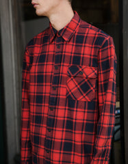 Nudie Sten Flannel Check Shirt Red Alert