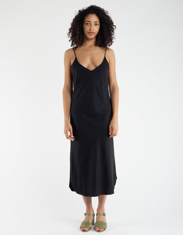 Ozma Slip Dress Black Silk Noil