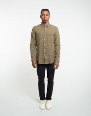Portuguese Flannel Linen Long Sleeve Shirt Olive