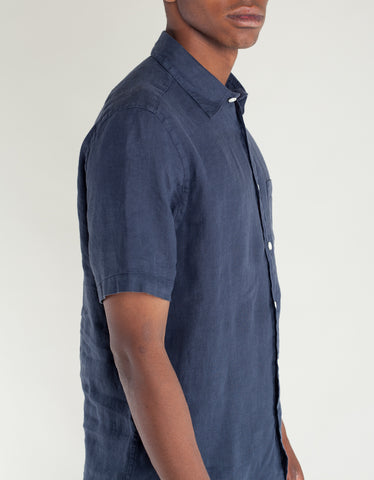 Portuguese Flannel Linen Short Sleeve Shirt Dark Blue