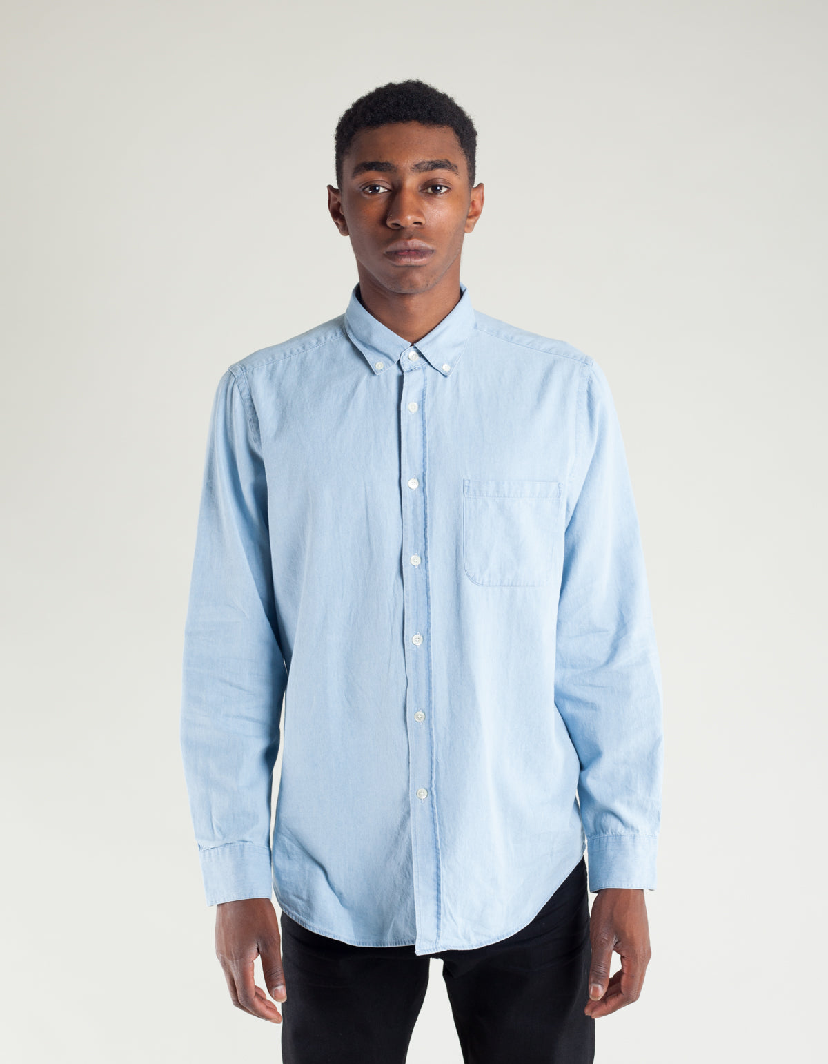 Portuguese Flannel Caue Long Sleeve Shirt Light Blue