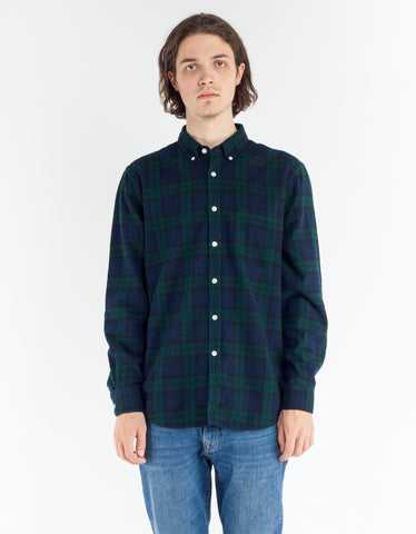 Portuguese Flannel Bonfim Shirt Navy Green