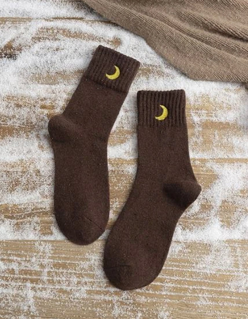 Rainbow Unicorn Birthday Surprise Crescent Moon Socks in Brown