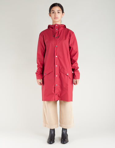 Rains Women's Long Jacket Scarlet