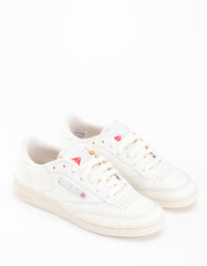 Reebok Club C 85 Vintage Chalk Silver Paperwhite Excellent Red