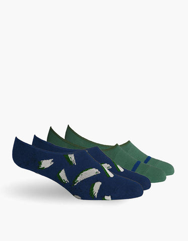 Richer Poorer Chad No Show Socks Green Navy