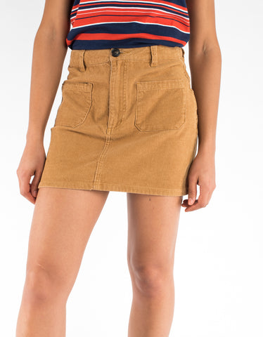 Rollas Cord Mini Skirt Tan