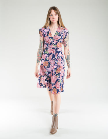 Rollas Dancer Rose Wrap Dress Navy