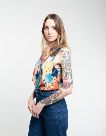 Rollas Dianne Camisole Painted Tulip Tank Rust