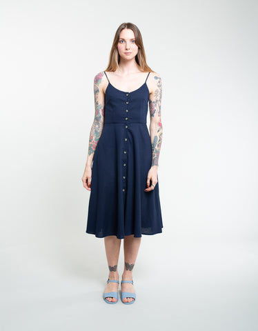 Rollas Midsummer Linen Dress Navy