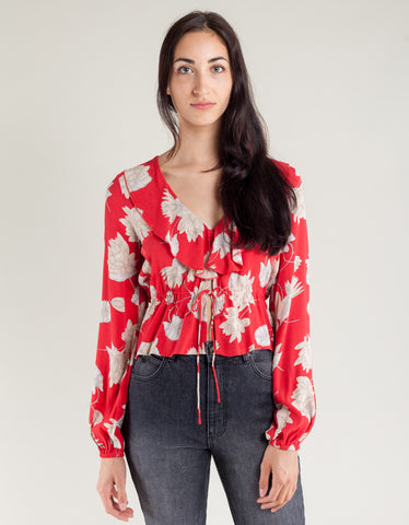 Rollas Ruffle Blouse Rouge Waterlily