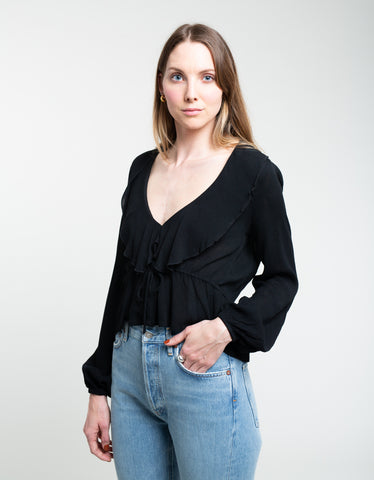 Rollas Ruffle Crepe Blouse Black