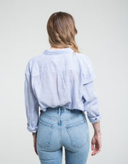 Rollas Slouch Stripe Shirt Blue White