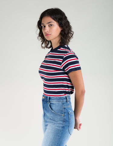 Rollas Stripe Crew Tee Navy