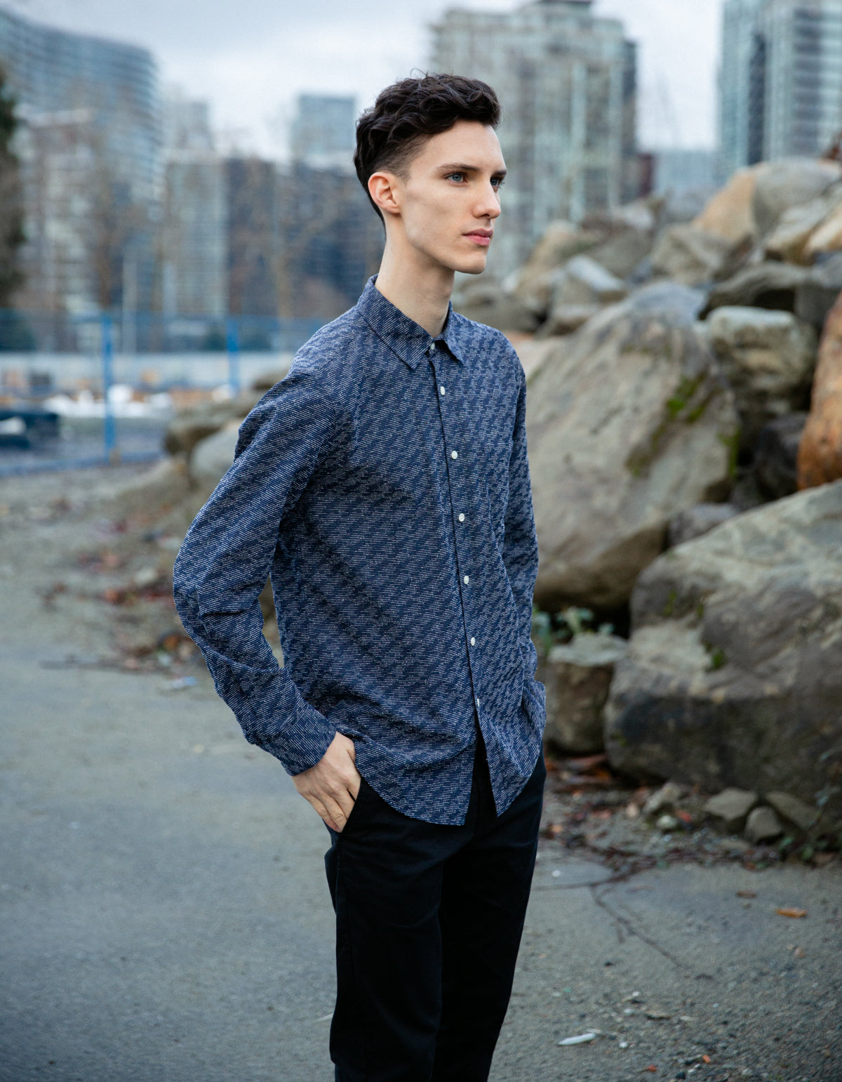 Portuguese Flannel 30's Long Sleeve Shirt Navy