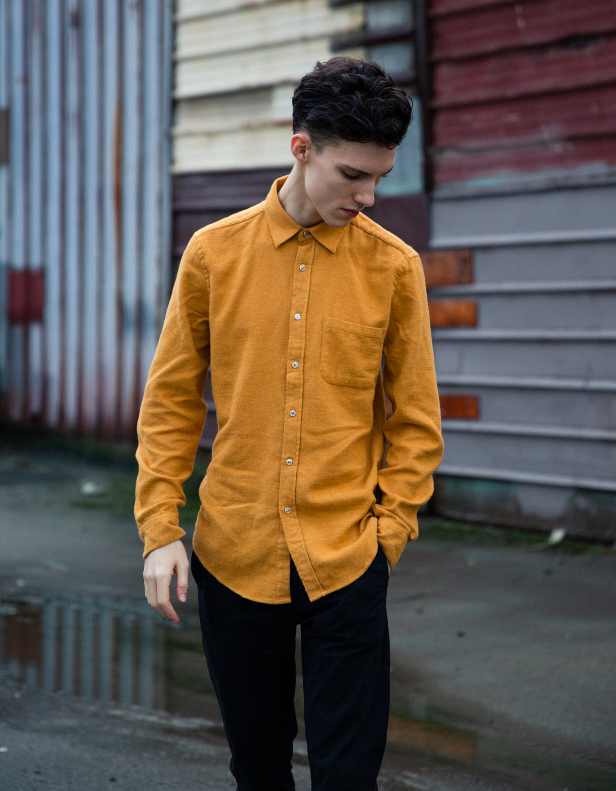 Portuguese Flannel Teca Long Sleeve Shirt Mustard