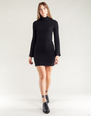 Side Party Gigi Mini Textured Dress with Bell Sleeves Black