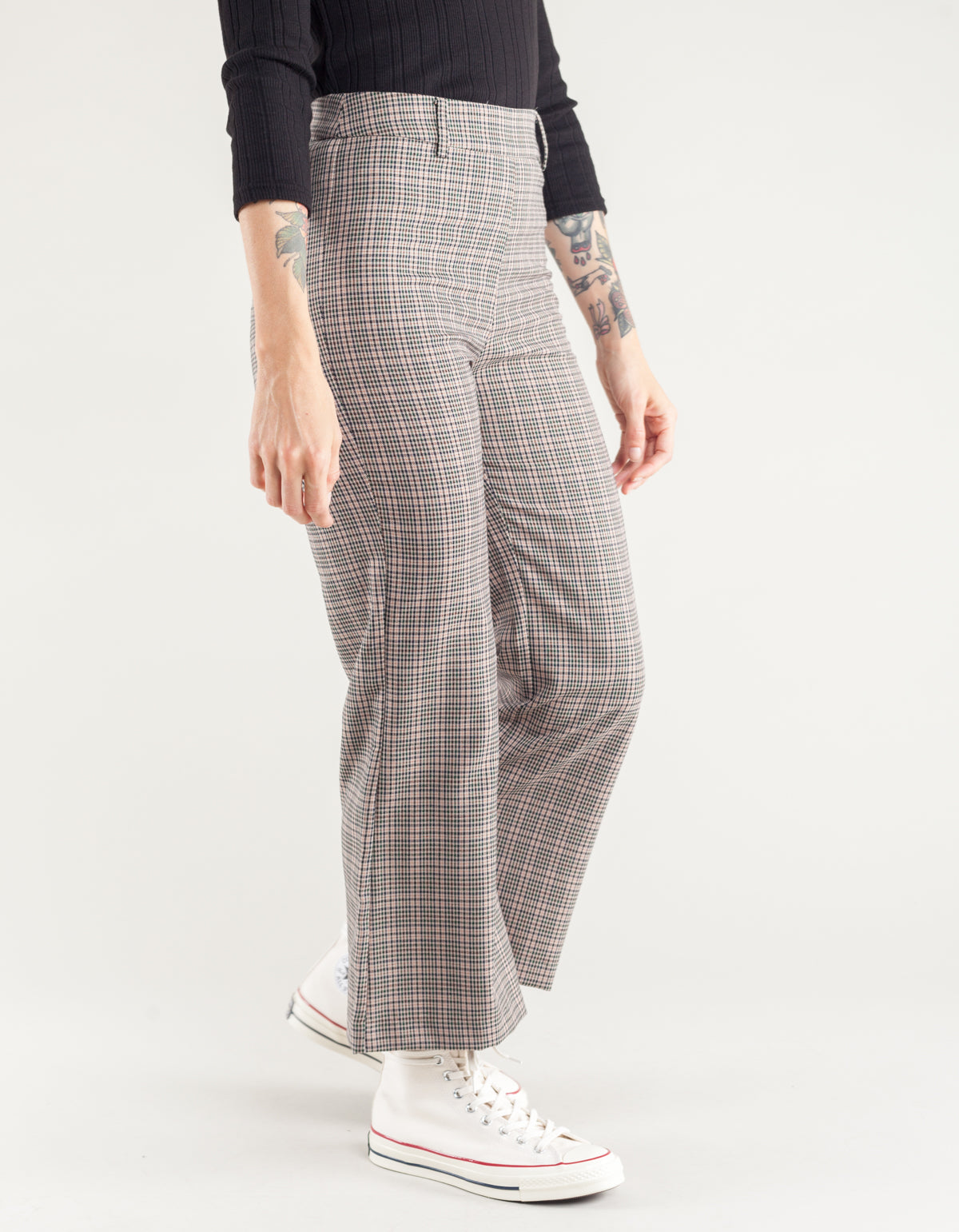Side Party Bye Checked Flare Pant Camel Check