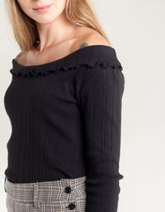 Side Party Celia Ribbed Frilled Boat Neck Top Black