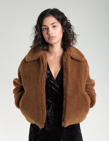 Side Party Dede Sheepskin Zipped Jacket Brown