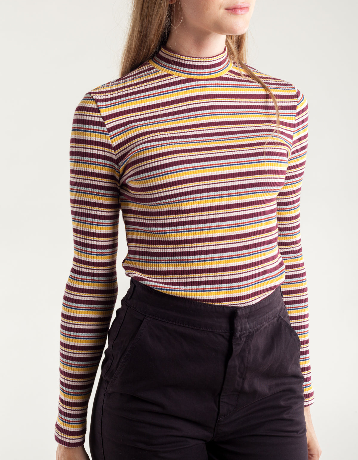 Side Party Jack Multistripe Ribbed Top Burgundy Blue Yellow Multistripe