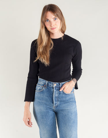 Side Party Kid Ribbed Crew Neck Bell Sleeve Top Black