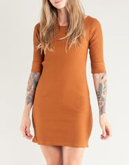 Side Party Melina Rolled Cuff Scoop Neck Mini Dress Camel Rust