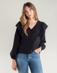 Side Party Melo Button Ruffled Shoulder Blouse Black