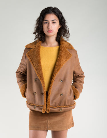 Side Party Mina Sheepskin Double-Breasted Coat Brown