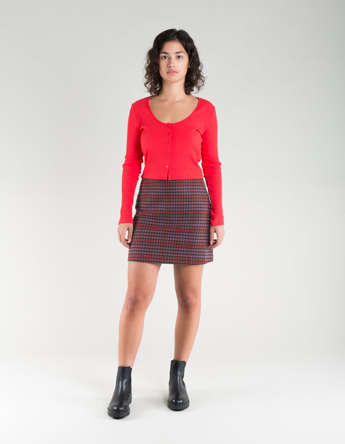Side Party Miu Buttoned Deep Neck Ribbed Top Red