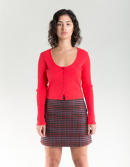 Side Party Sass Houndstooth Mini Skirt Purple Red Houndstooth