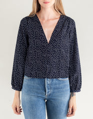 Side Party Sydney V-Neck Dotted Buttoned Blouse Navy White Dots