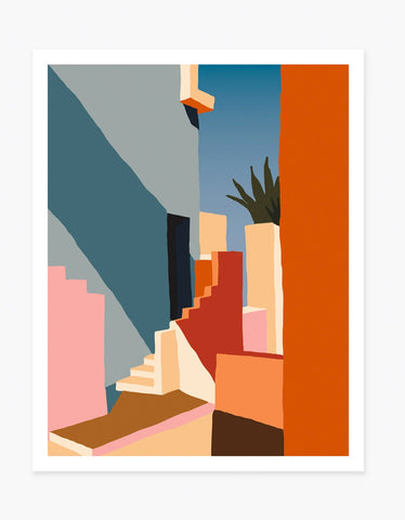 Slowdown Studio Tangerine Stairs Art Print by Charlie Bennell