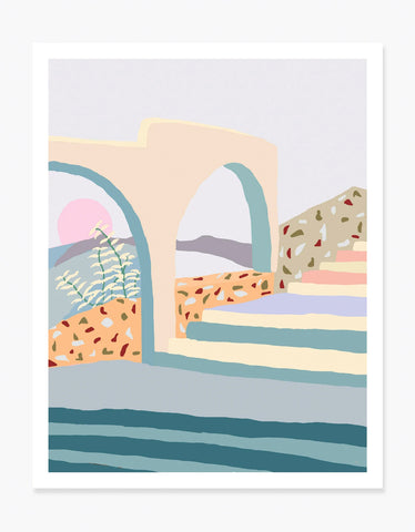 Slowdown Studio Terrazzo Stairs Art Print by Charlie Bennell
