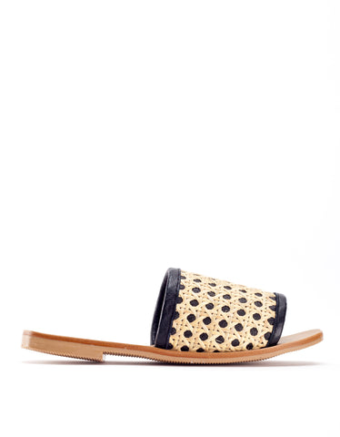 St. Agni Hennie Rattan Slide Black