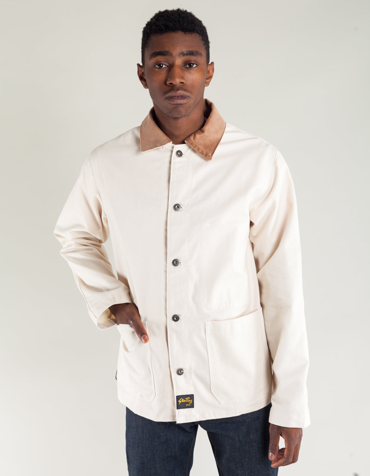 Stan Ray Archive 4 Pocket Jacket with Corduroy Collar Natural