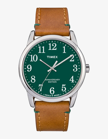 Timex Easy Reader Watch Silver Green Tan