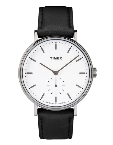 Timex Fairfield Sub-Second Watch Silver-Tone Black White