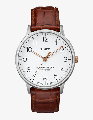 Timex Waterbury Classic 40 Watch Stainless White Brown