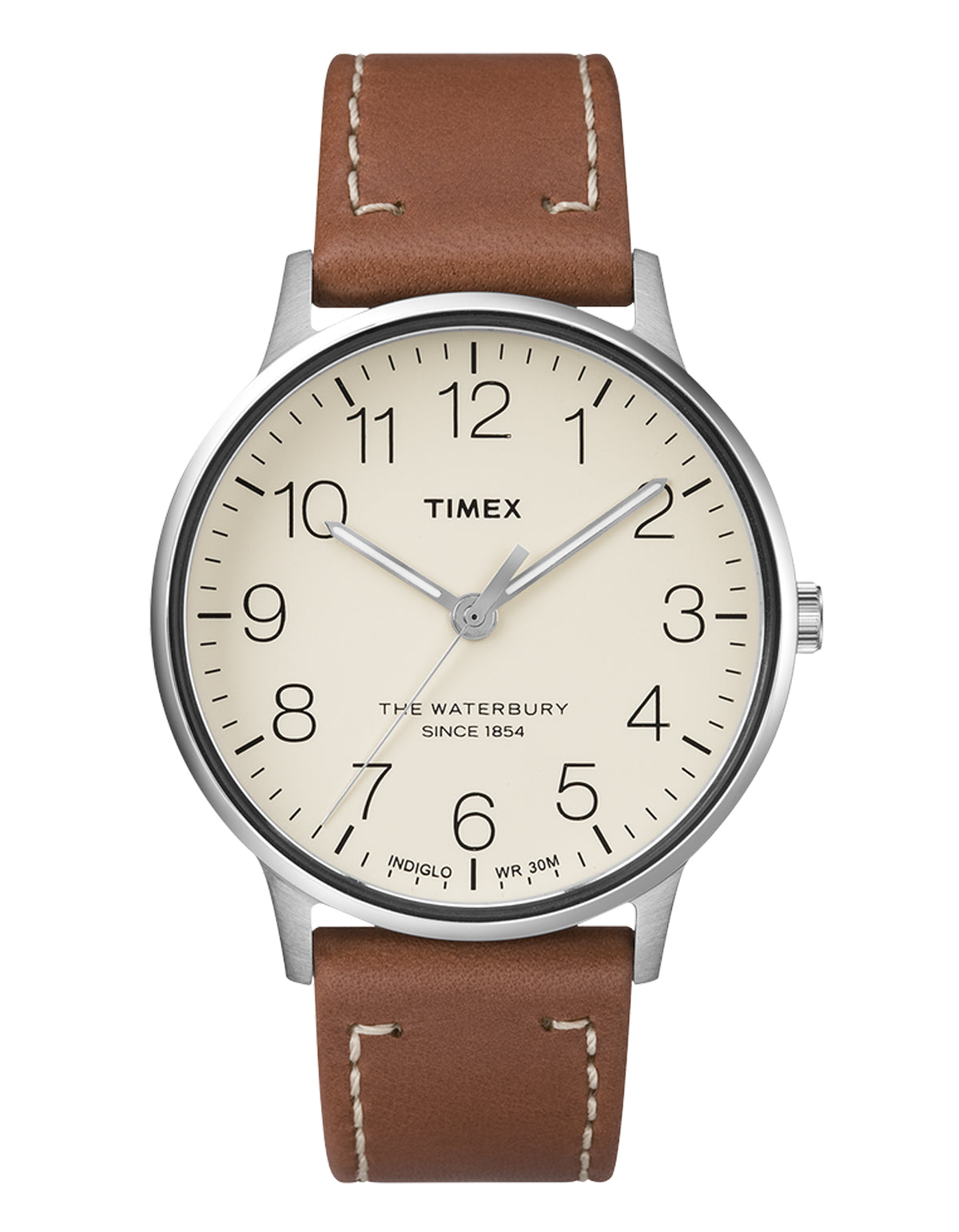 Timex Waterbury Watch Stainless Steel Brown Cream