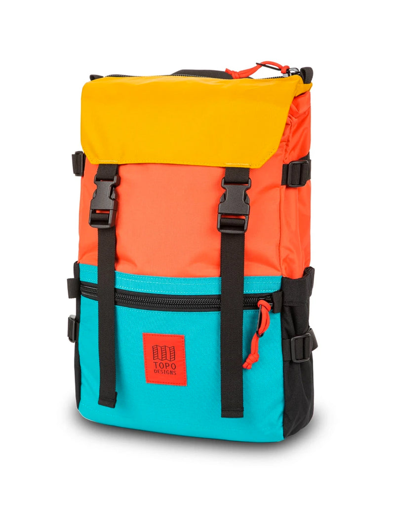Topo Designs Rover Pack in Hot Coral/Turquoise/Mustard