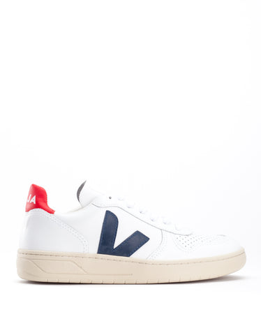 Veja Women's V-10 Leather Sneaker Extra White Nautico Pekin