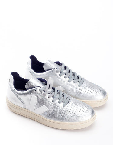 Veja Women's V-10 Leather Sneaker Silver